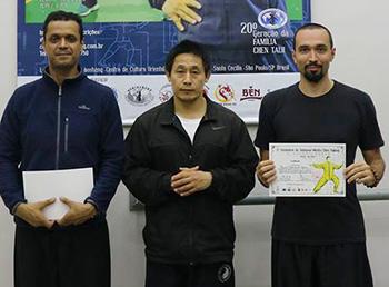 Prof. Gil Rodrigues, Mestre Chen Ziqiang e Prof. Marco Moura
